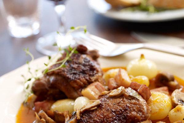 svin med gorgonzola saus