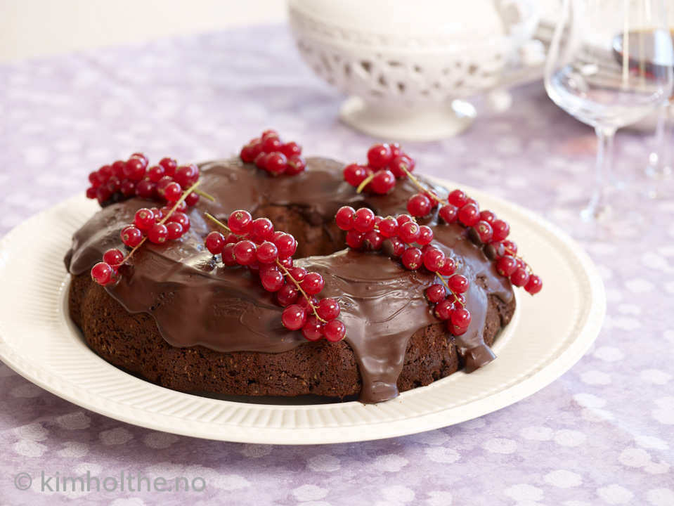 sjokoladekake i randform