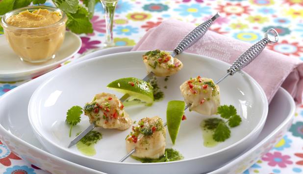 korianderstekte kamskjell med søtpotetpure