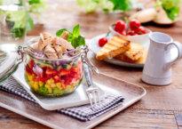 Kyllingsalat på glass