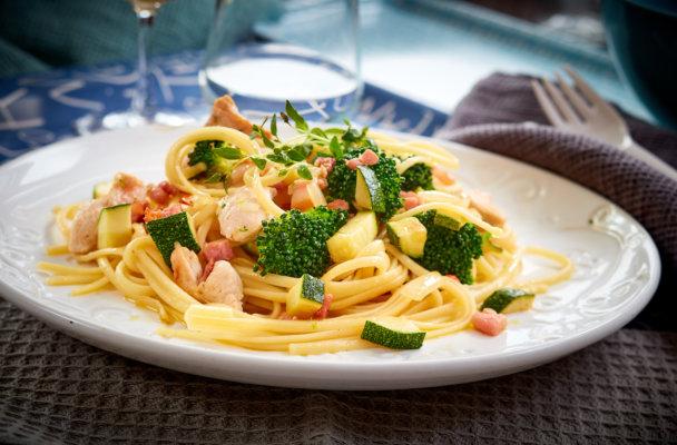 Ratatouille med kylling og pasta