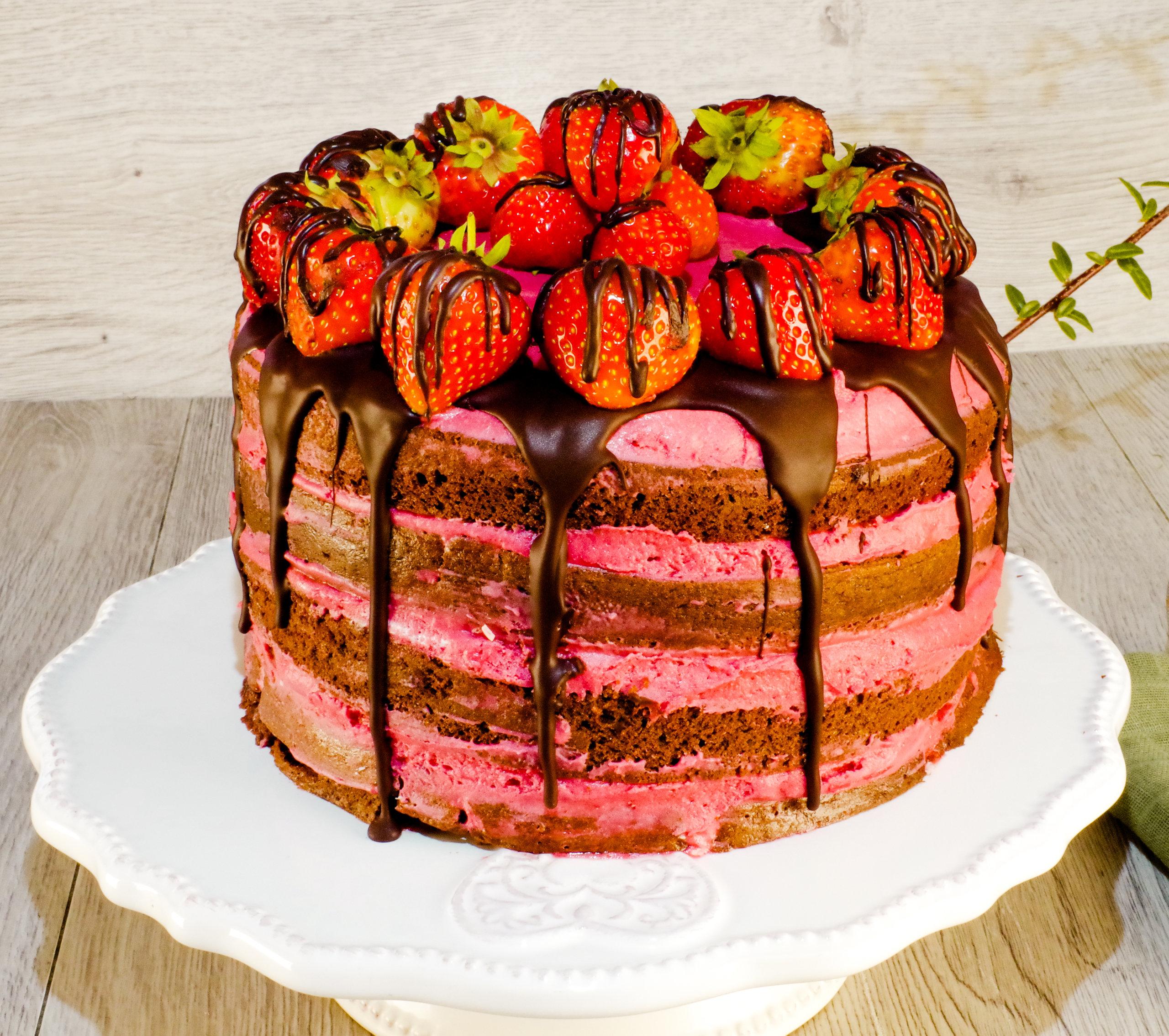 Sjokoladekake med bringebærkrem